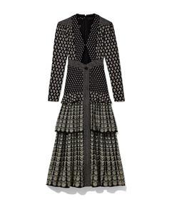 long sleeve fan print dress