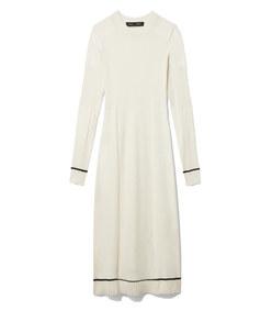 silk cashmere rib knit dress