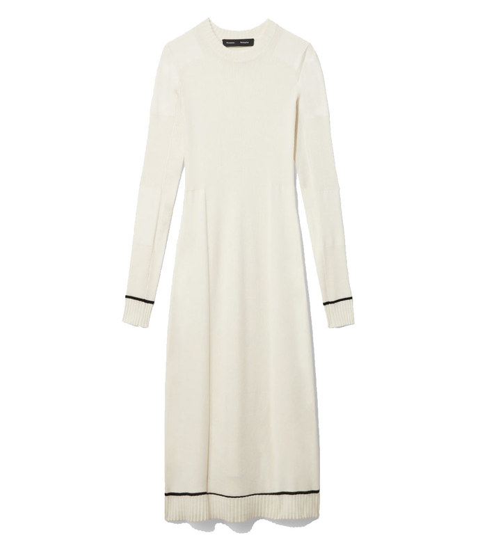 silk cashmere rib knit dress