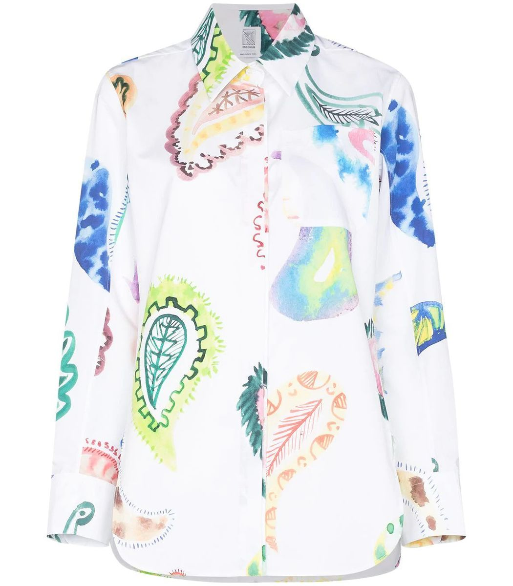Rosie Assoulin Multicolor Oversize Paisley Print Button Up Shirt