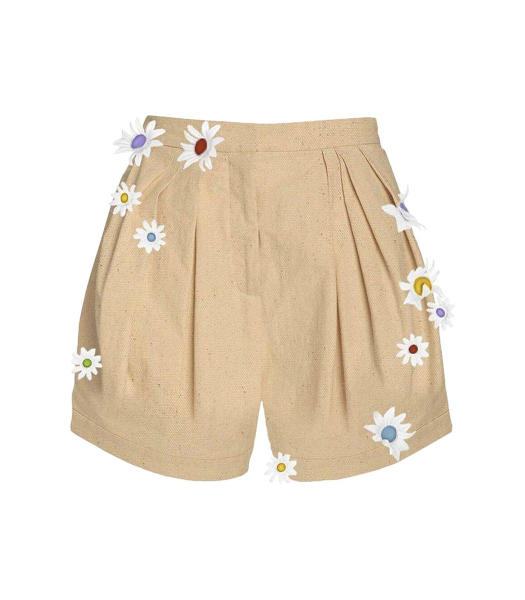 Rosie Assoulin Daisy Embroidered Pleated Asymmetrical Short