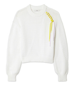 oversized cropped lanyard pullover