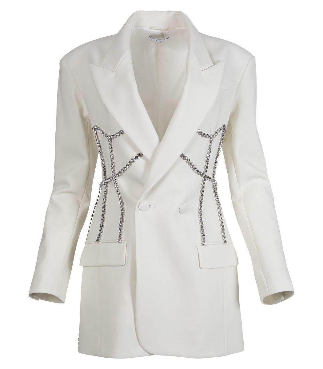 Area Crystal Stitched Corset Blazer Dress, Ivory