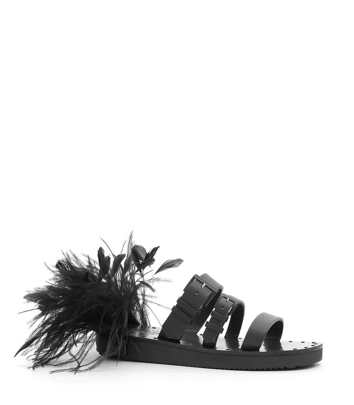 triple buckle ostrich feather slide