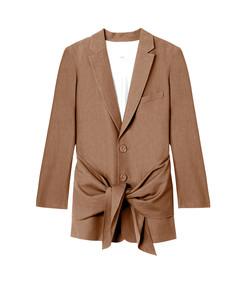 brown linen viscose long blazer