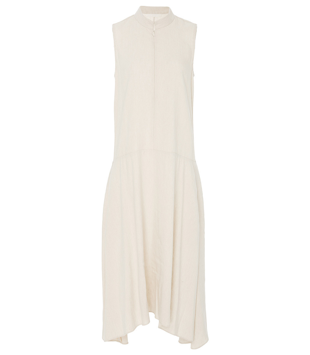 MARISA WITKIN Mock Neck Sleeveless Dress in Natural