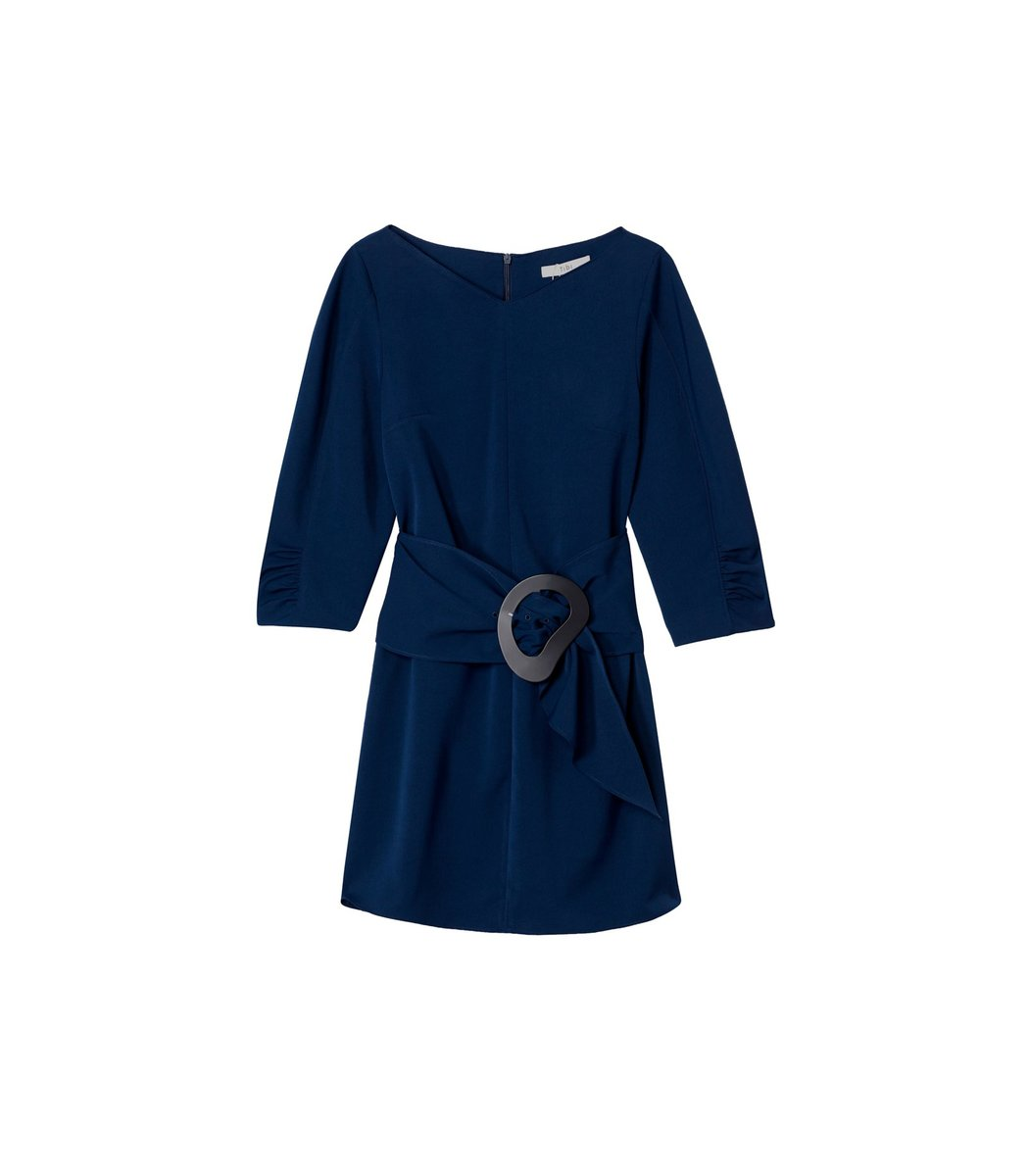 Tibi Dresses Drape Twill Shirred Sleeve Dress with Removable Belt