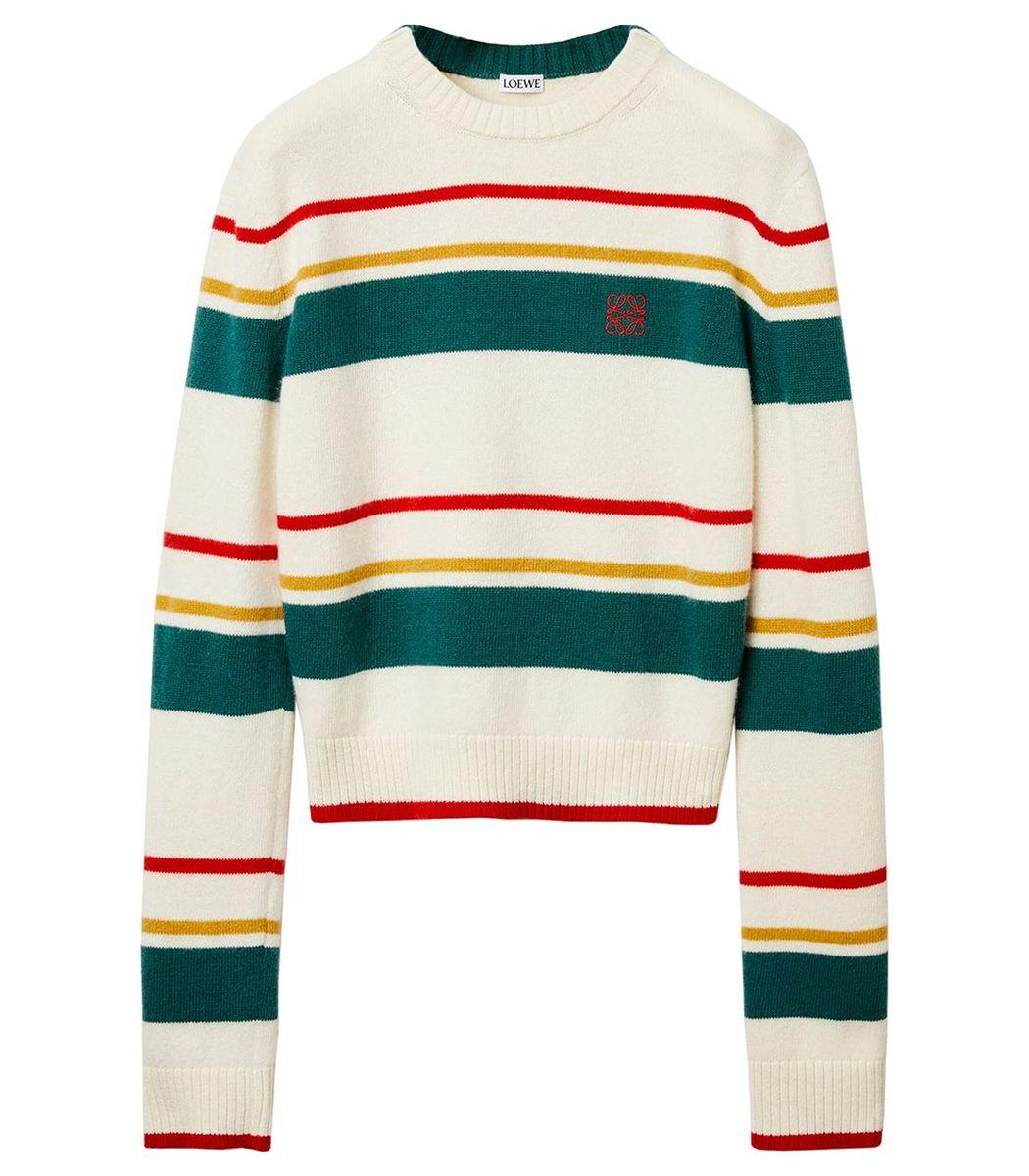 Loewe Stripe Anagram Cropped Sweater