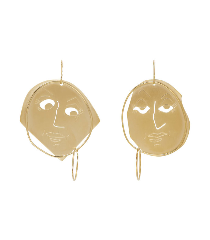 gold moonface drop earrings