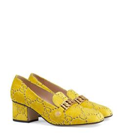 sylvie gg velvet mid-heel loafer