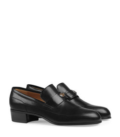 men's leather loafer with gucci team motif