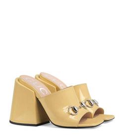 patent leather high-heel slide