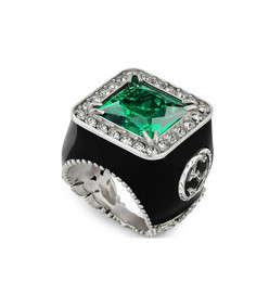ring with stone and crystals
