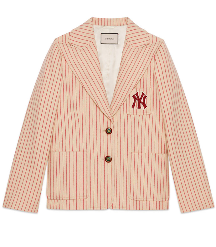 silk wool jacket with ny yankees™ patch