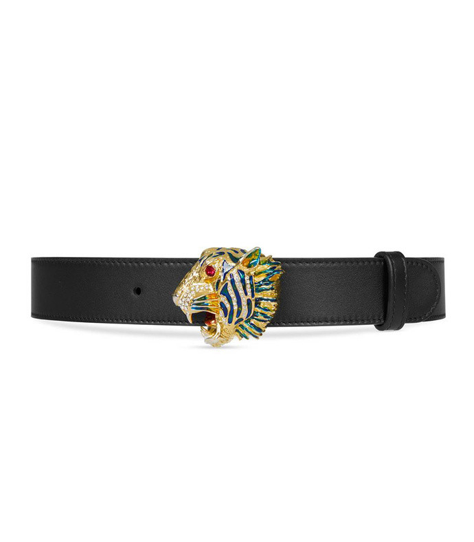 women's leather belt with tiger head