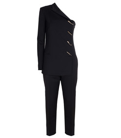 one-shoulder black tuxedo jumpsuit