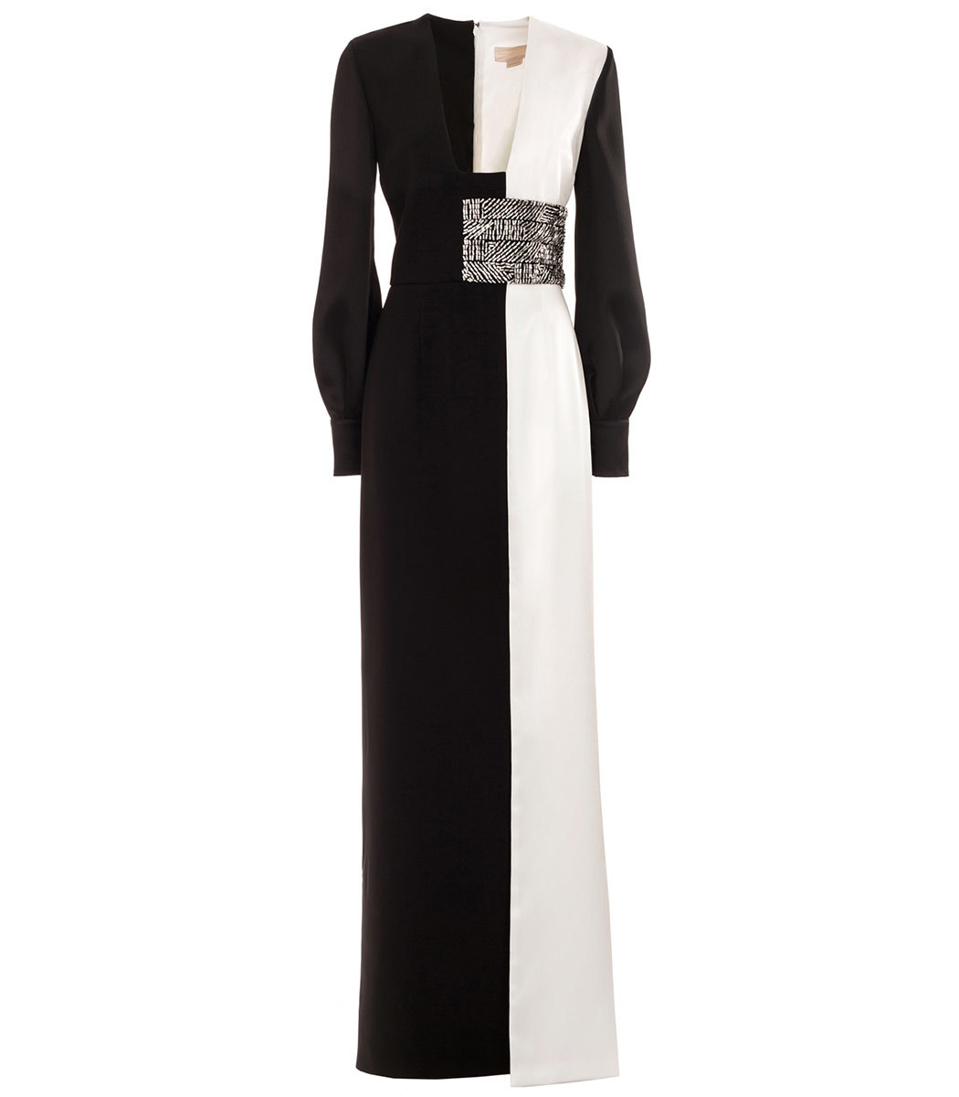 Genny Black and White Floor Length Gown - ShopBAZAAR