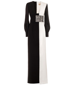black and white floor length gown