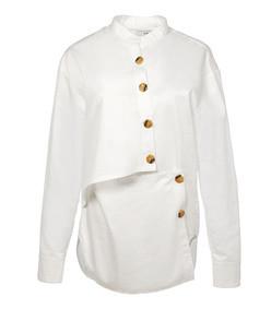 satin poplin asymmetrical layered shirt