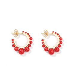 ana earrings with coral color pearls