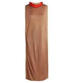 ruffled-trim fine-knit dress