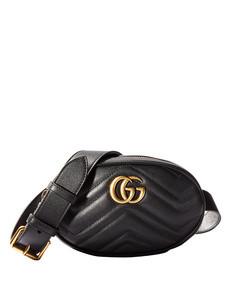 black leather 'gg' belt bag