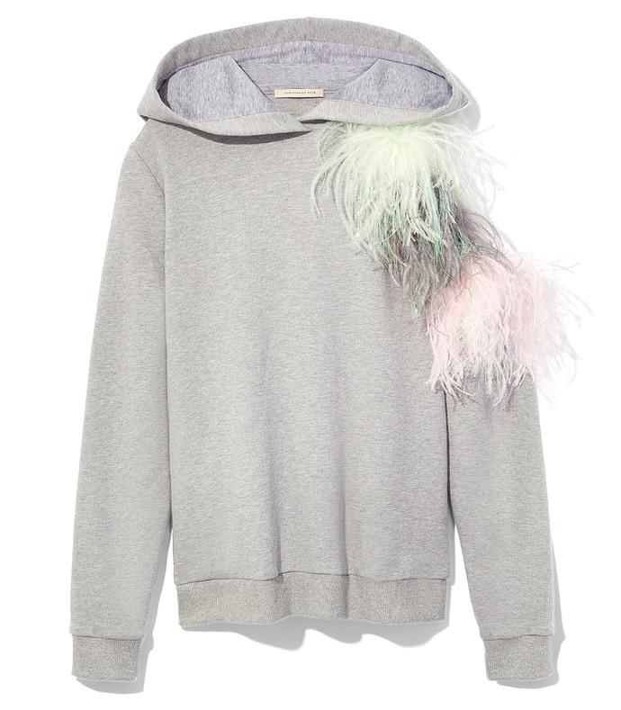 grey pom pom cut-out hoodie