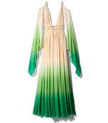 champagne & green dip dyed drape dress