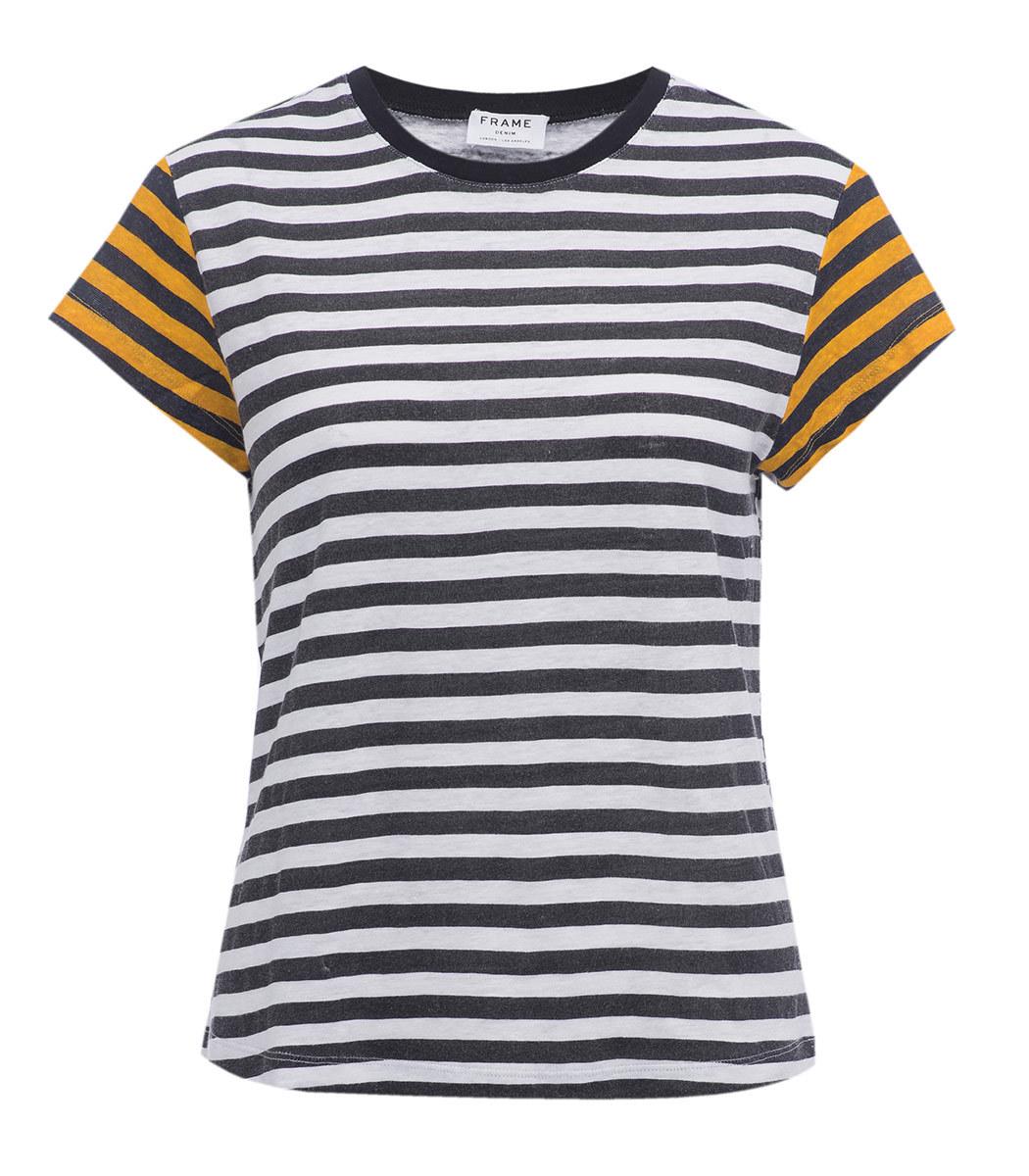 Frame Black, White & Yellow Stripe T-Shirt - Black, White & Yellow ...