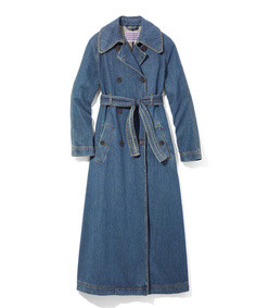 denim belted trench