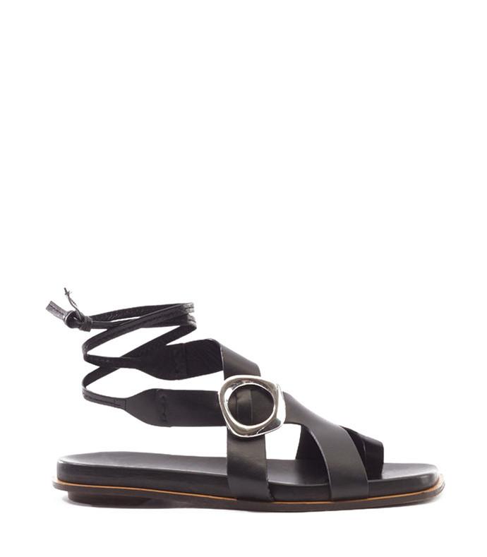 black samira flat sandal