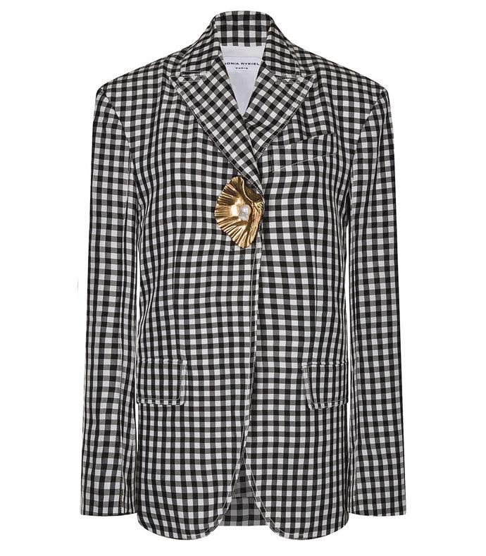 gingham print blazer