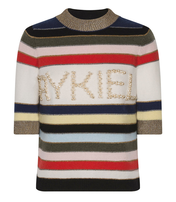 striped embroidered cashmere sweater