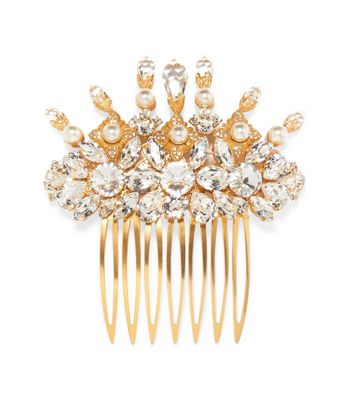 gold-tone, swarovski crystal and faux pearl hair slide