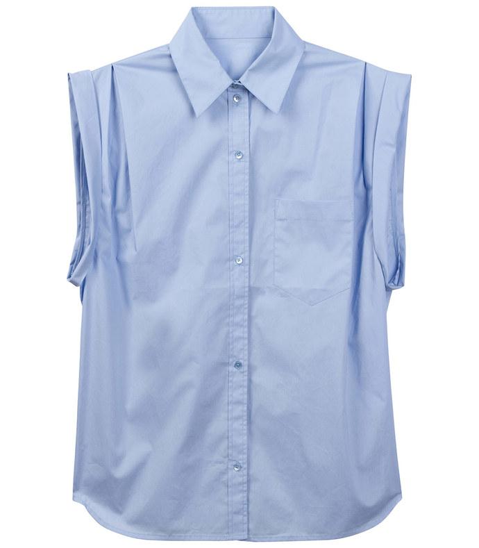 sleeveless cuffed button-up shirt