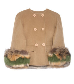 the adaline double-faced wool and fox fur cape