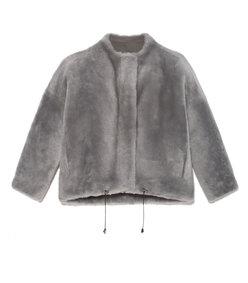 the melinda shearling zip jacket in grey