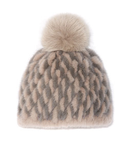 the knit two-tone mink hat with fox pom pom in chateau grey-wild dove