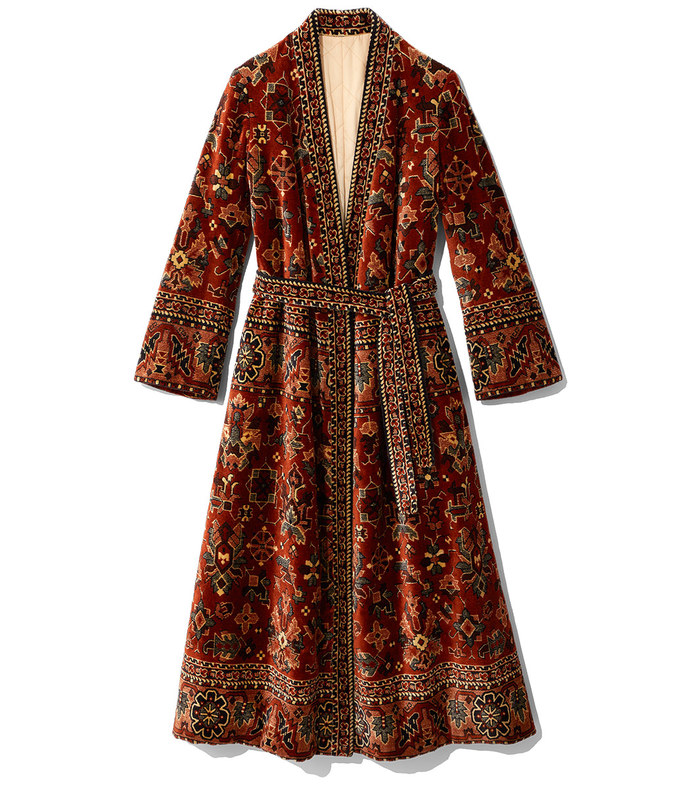 belted tapestry coat