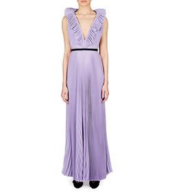 pleated open back dress