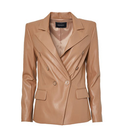 faux leather double breasted blazer