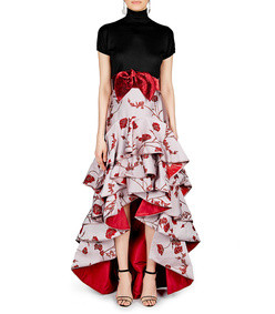 bowie belted jacquard skirt