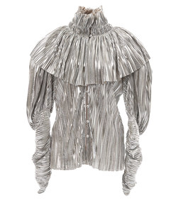 silver pleated blouse