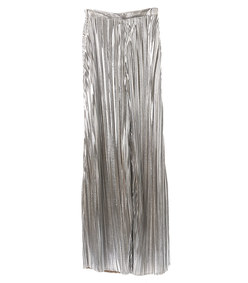 silver pleated wide leg pant