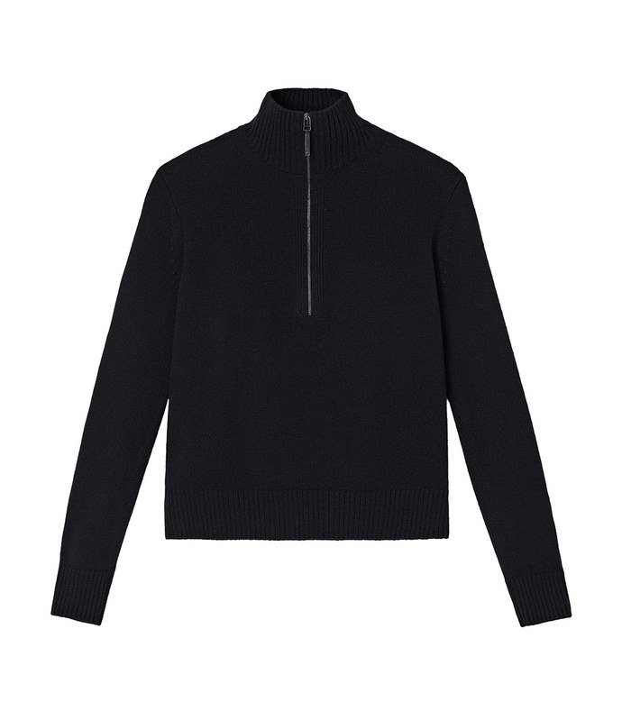 cashmere stand collar with zip sweater