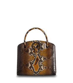annette top handle tote in cognac python