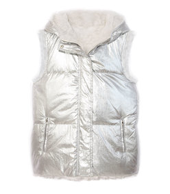 the kosmus reversible quilted shearling zip puffer vest