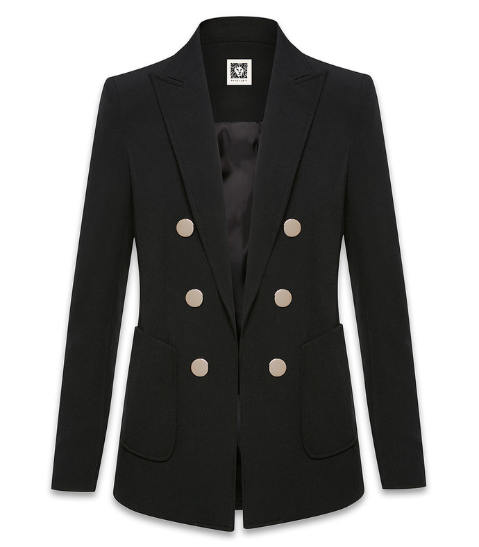 madison crepe faux double breasted patch pocket jacket