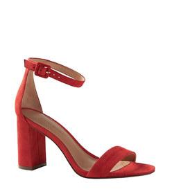 bare high block-heel sandal in red