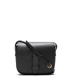italian leather saddle bag in black